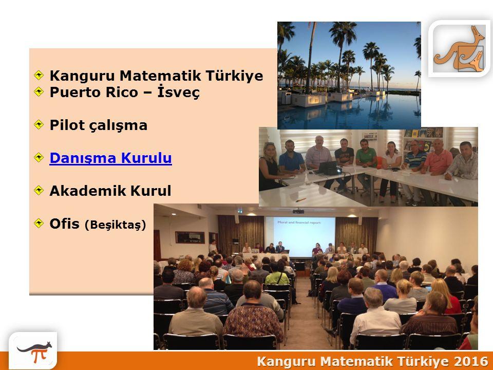 Kanguru Matematik Türkiye 2016 Kanguru Matematik Türkiye Puerto Rico – İsveç Pilot çalışma Danışma Kurulu Akademik Kurul Ofis (Beşiktaş)