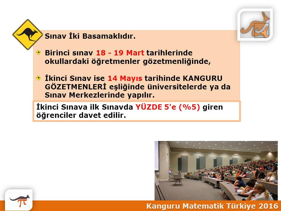 Sınav İki Basamaklıdır. Birinci sınav 18 - 19 Mart tarihlerinde okullardaki öğretmenler gözetmenliğinde, İkinci Sınav ise 14 Mayıs tarihinde KANGURU G