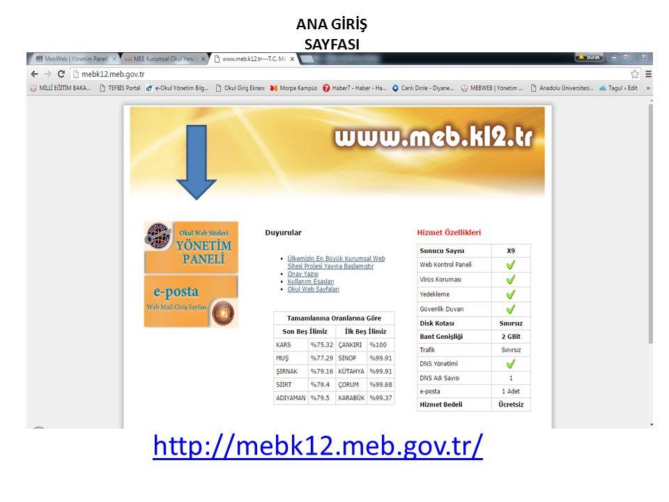 http://mebk12.meb.gov.tr/ ANA GİRİŞ SAYFASI