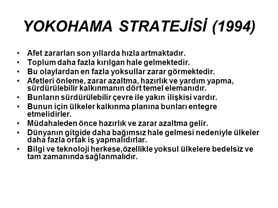 YOKOHAMA STRATEJİSİ (1994) Afet zararları son yıllarda hızla artmaktadır.