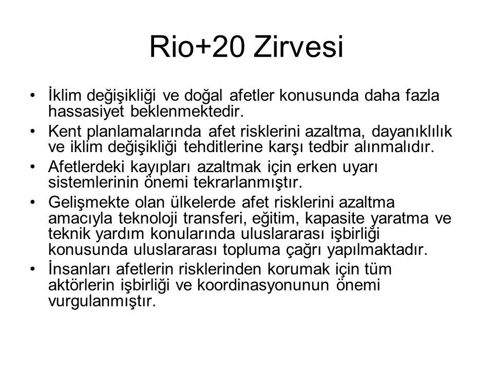 Rio+20 Zirvesi İklim değişikliği ve doğal afetler konusunda daha fazla hassasiyet beklenmektedir.