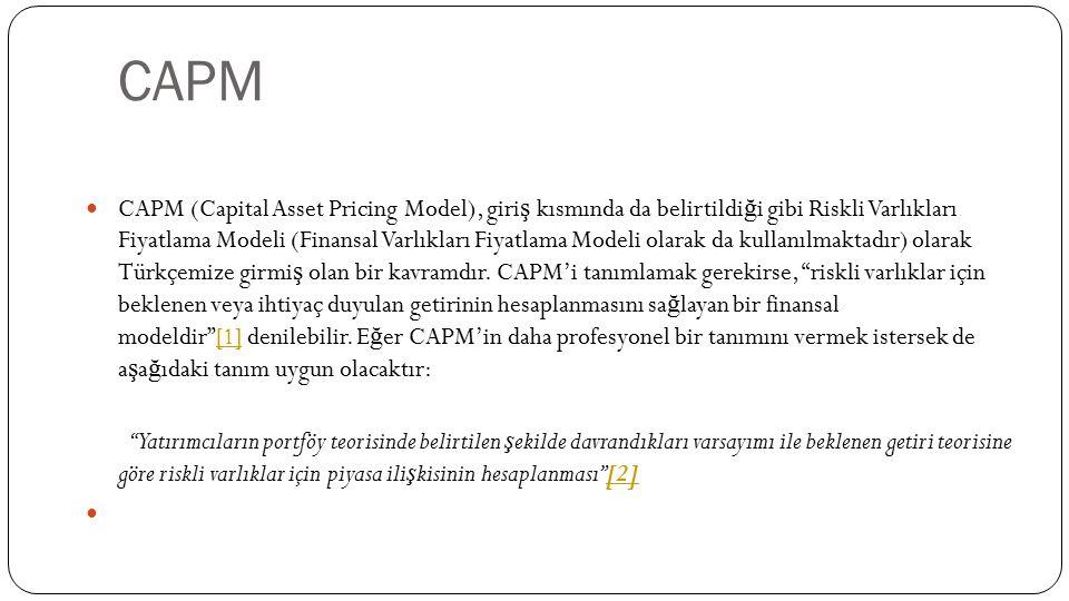 CAPM (Capital Asset Pricing Model), giri ş kısmında da belirtildi ğ i gibi Riskli Varlıkları Fiyatlama Modeli (Finansal Varlıkları Fiyatlama Modeli ol