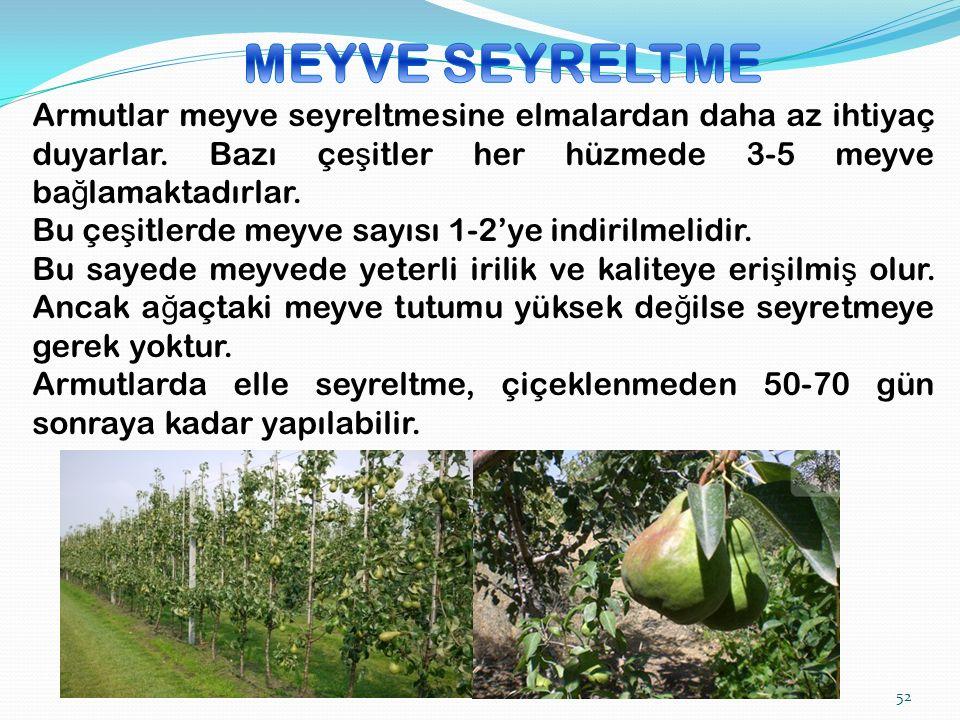 Armutlar meyve seyreltmesine elmalardan daha az ihtiyaç duyarlar.