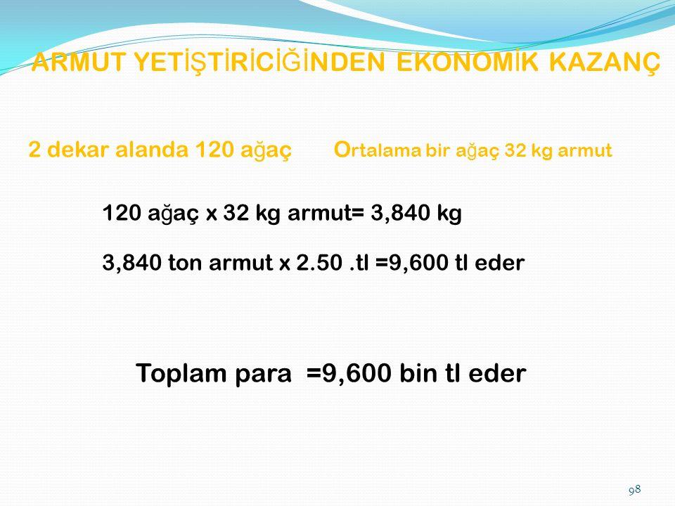 ARMUT YET İŞ T İ R İ C İĞİ NDEN EKONOM İ K KAZANÇ O rtalama bir a ğ aç 32 kg armut 2 dekar alanda 120 a ğ aç 120 a ğ aç x 32 kg armut= 3,840 kg 3,840 ton armut x 2.50.tl =9,600 tl eder Toplam para =9,600 bin tl eder 98