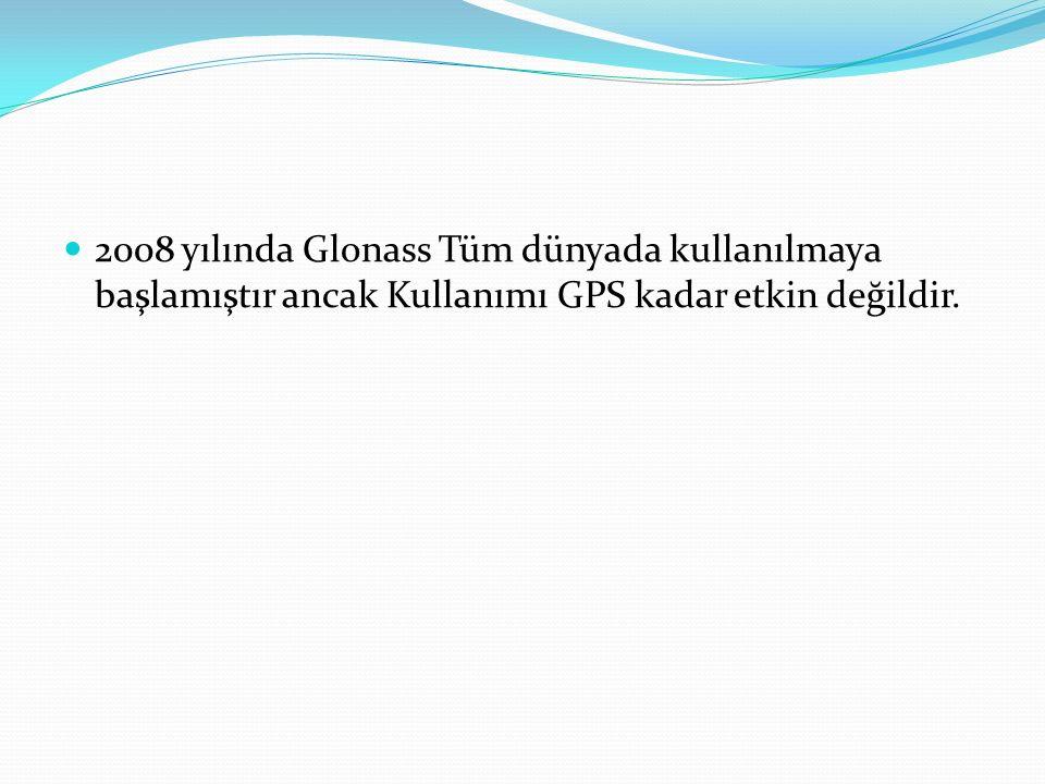 2008 yılında Glonass Tüm dünyada kullanılmaya başlamıştır ancak Kullanımı GPS kadar etkin değildir.