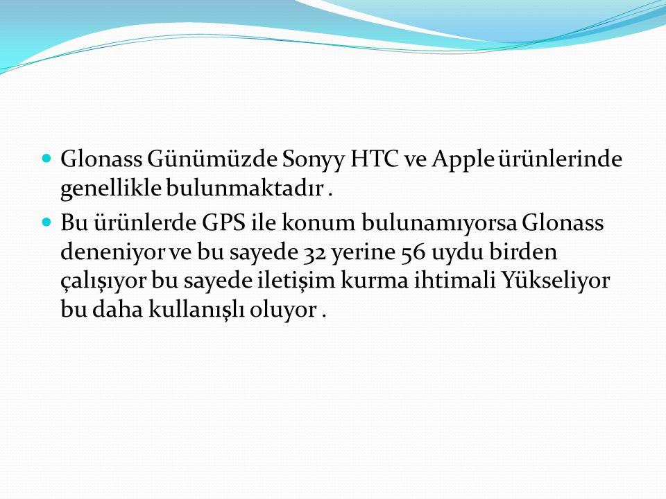 Glonass Günümüzde Sonyy HTC ve Apple ürünlerinde genellikle bulunmaktadır. Bu ürünlerde GPS ile konum bulunamıyorsa Glonass deneniyor ve bu sayede 32