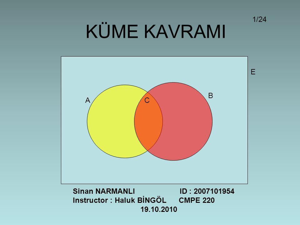 KÜME KAVRAMI A B C E Sinan NARMANLI ID : 2007101954 Instructor : Haluk BİNGÖL CMPE 220 19.10.2010 1/24