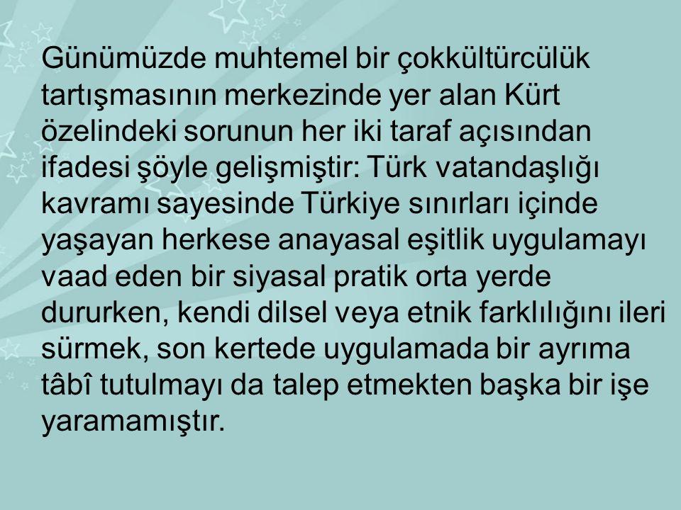 Günümüzde muhtemel bir çokkültürcülük tartışmasının merkezinde yer alan Kürt özelindeki sorunun her iki taraf açısından ifadesi şöyle gelişmiştir: Tür