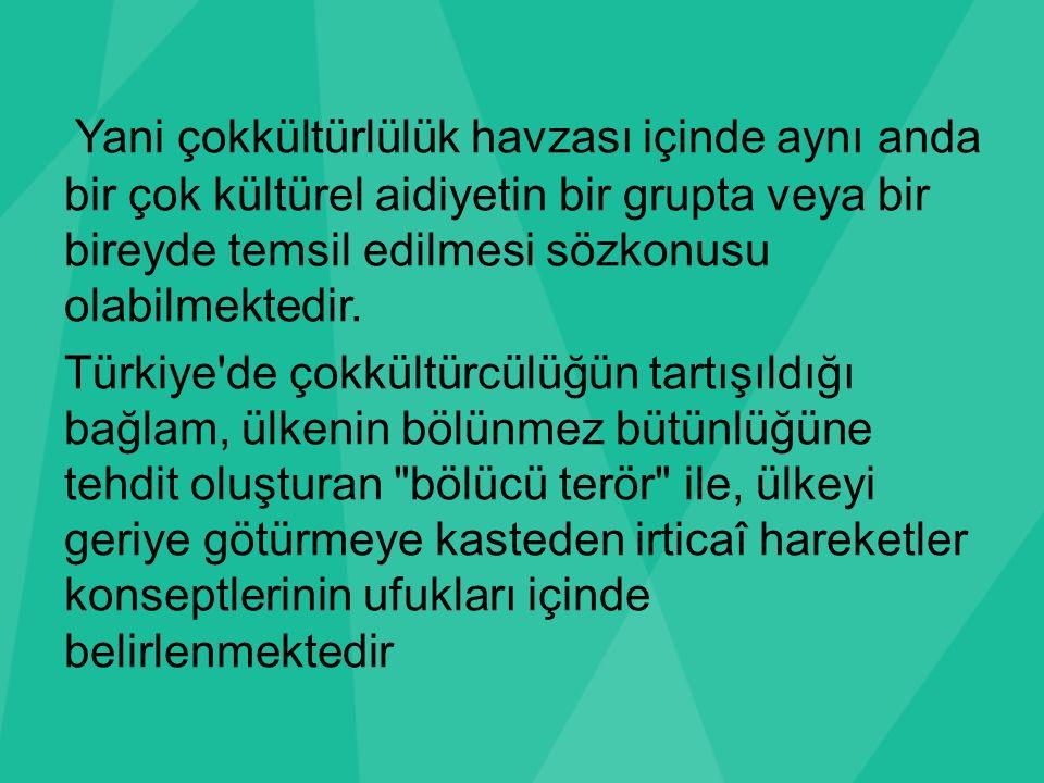 Yani çokkültürlülük havzası içinde aynı anda bir çok kültürel aidiyetin bir grupta veya bir bireyde temsil edilmesi sözkonusu olabilmektedir. Türkiye'