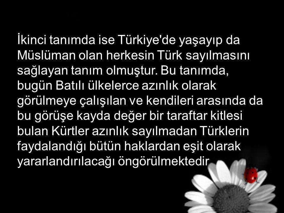 İkinci tanımda ise Türkiye'de yaşayıp da Müslüman olan herkesin Türk sayılmasını sağlayan tanım olmuştur. Bu tanımda, bugün Batılı ülkelerce azınlık o