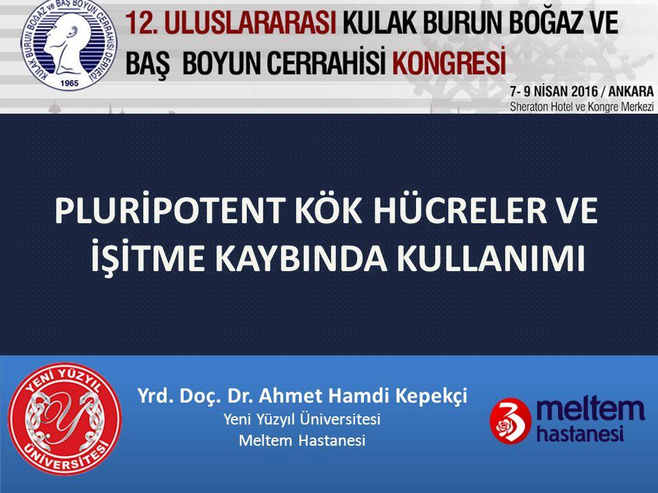 PLURİPOTENT KÖK HÜCRELER VE İŞİTME KAYBINDA KULLANIMI Yrd. Doç. Dr. Ahmet Hamdi Kepekçi Yeni Yüzyıl Üniversitesi Meltem Hastanesi