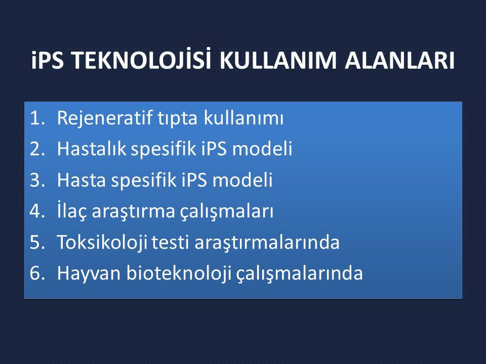 iPS TEKNOLOJİSİ KULLANIM ALANLARI 1.Rejeneratif tıpta kullanımı 2.Hastalık spesifik iPS modeli 3.Hasta spesifik iPS modeli 4.İlaç araştırma çalışmaları 5.Toksikoloji testi araştırmalarında 6.Hayvan bioteknoloji çalışmalarında 1.Rejeneratif tıpta kullanımı 2.Hastalık spesifik iPS modeli 3.Hasta spesifik iPS modeli 4.İlaç araştırma çalışmaları 5.Toksikoloji testi araştırmalarında 6.Hayvan bioteknoloji çalışmalarında