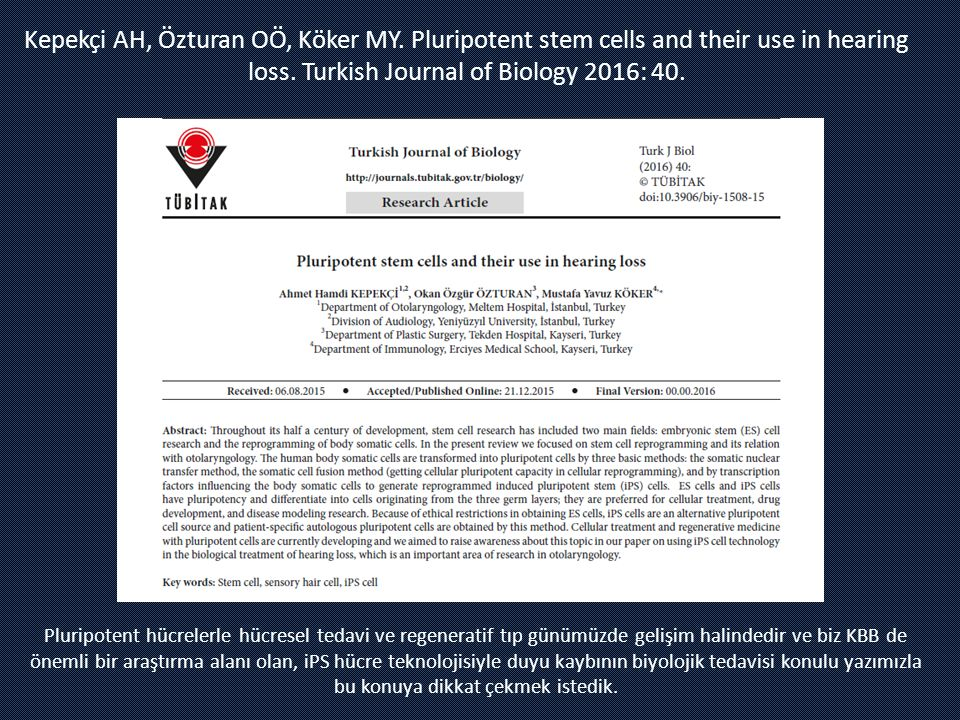 Kepekçi AH, Özturan OÖ, Köker MY. Pluripotent stem cells and their use in hearing loss. Turkish Journal of Biology 2016: 40. Pluripotent hücrelerle hü