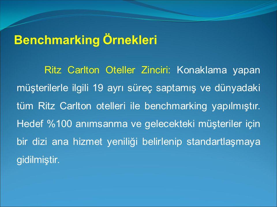 Ritz Carlton Oteller Zinciri: Konaklama yapan müşterilerle ilgili 19 ayrı süreç saptamış ve dünyadaki tüm Ritz Carlton otelleri ile benchmarking yapılmıştır.