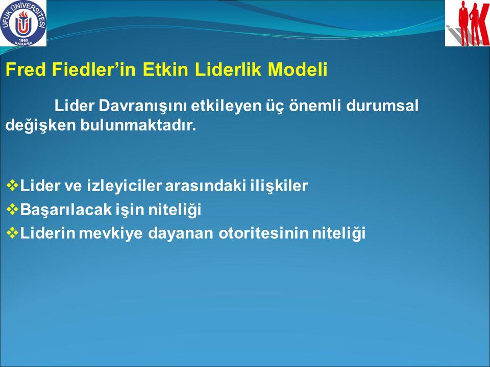 Fred Fiedler'in Etkin Liderlik Modeli Lider Davranışını etkileyen üç önemli durumsal değişken bulunmaktadır.  Lider ve izleyiciler arasındaki ilişkil