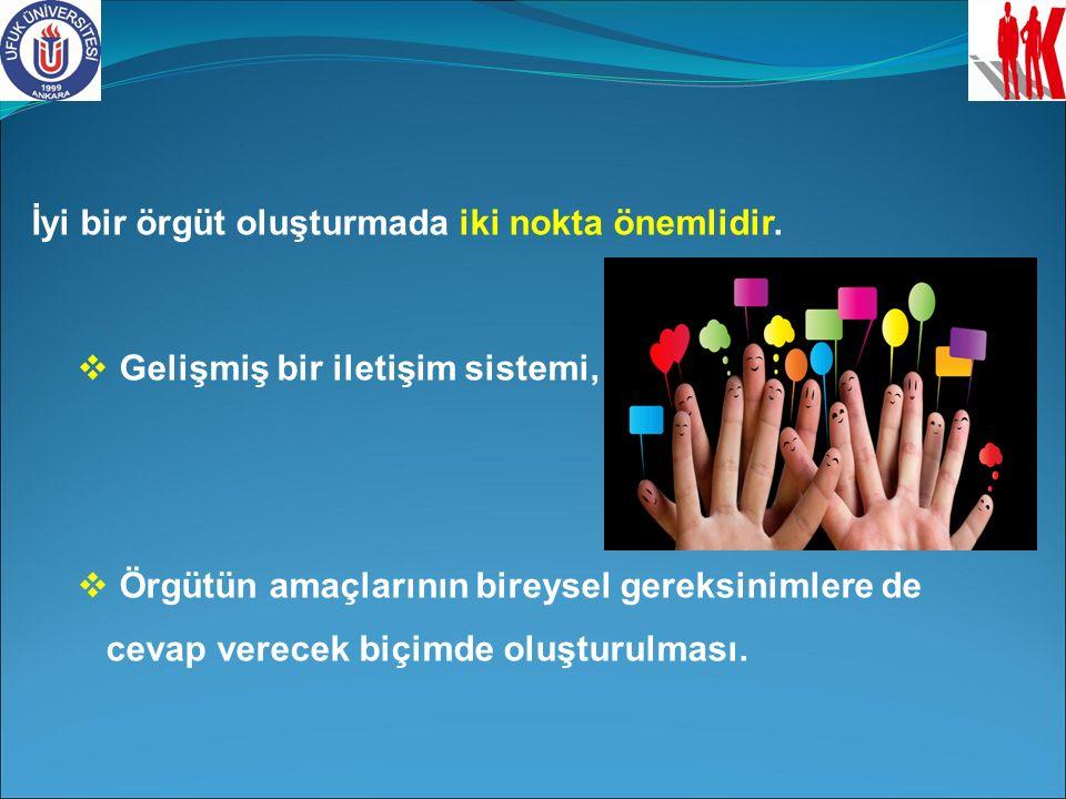 İyi bir örgüt oluşturmada iki nokta önemlidir.  Gelişmiş bir iletişim sistemi,  Örgütün amaçlarının bireysel gereksinimlere de cevap verecek biçimde