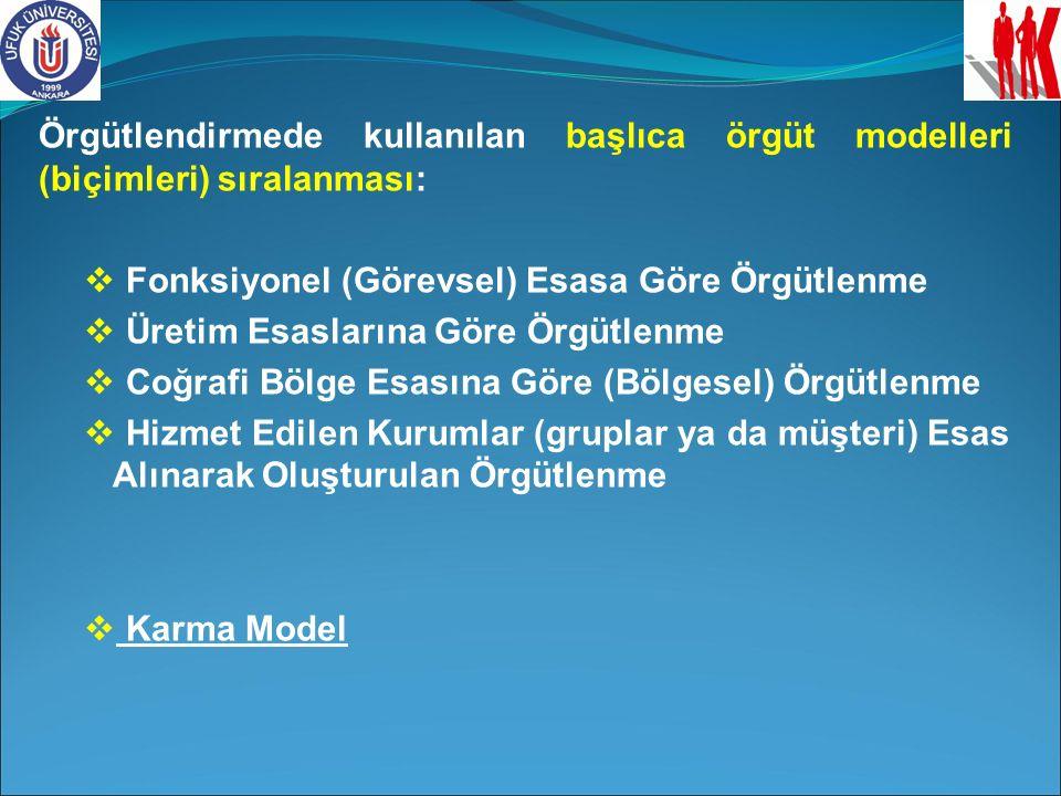 Örgütlendirmede kullanılan başlıca örgüt modelleri (biçimleri) sıralanması:  Fonksiyonel (Görevsel) Esasa Göre Örgütlenme  Üretim Esaslarına Göre Ör