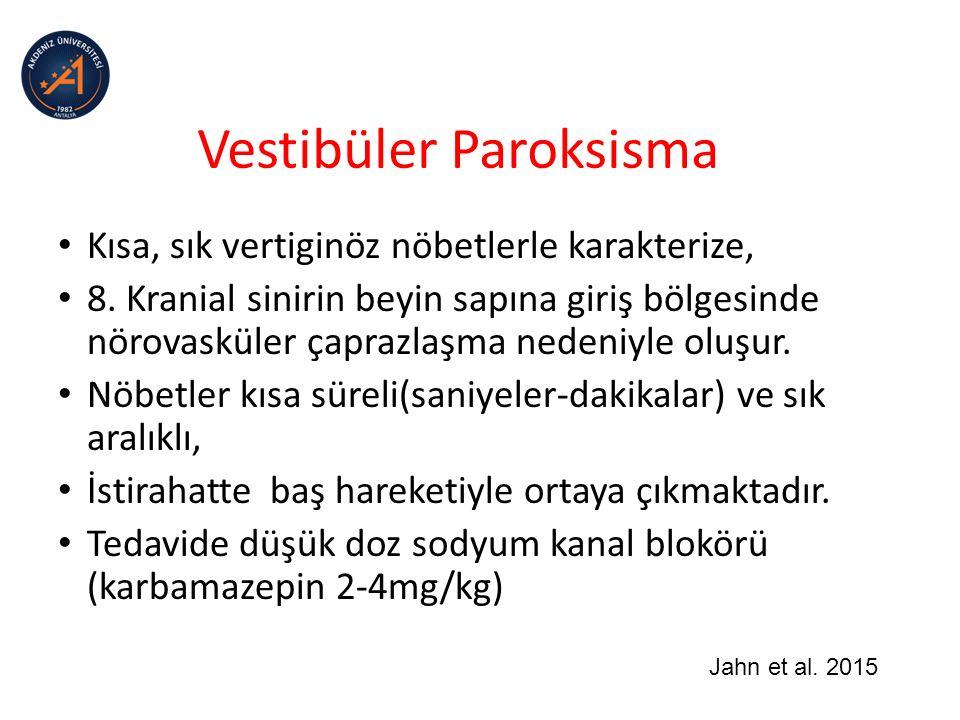 Vestibüler Paroksisma Kısa, sık vertiginöz nöbetlerle karakterize, 8.