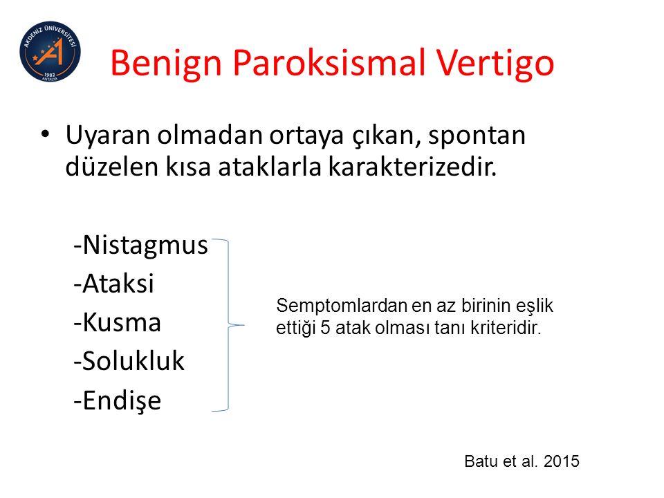 Monofazik VertigoEpizodik VertigoPersistan Vertigo Vestibuler nörit/labirintit: -rotatuar vertigo, -bulantı, -günler sürer Vestibuler migren: -5 dakika-72 saat Benign Paroksismal Vertigo: -saniyeler -dakikalar -migren eşlik etmez.