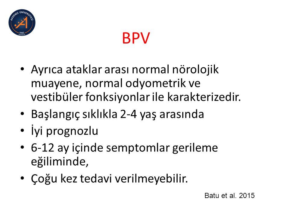 BPV Tedavide ataklar çok sıksa siproheptadin verilebilir.