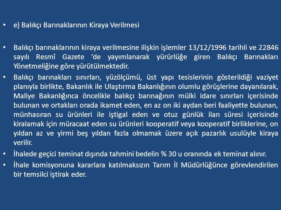 e) Balıkçı Barınaklarının Kiraya Verilmesi Balıkçı barınaklarının kiraya verilmesine ilişkin işlemler 13/12/1996 tarihli ve 22846 sayılı Resmî Gazete