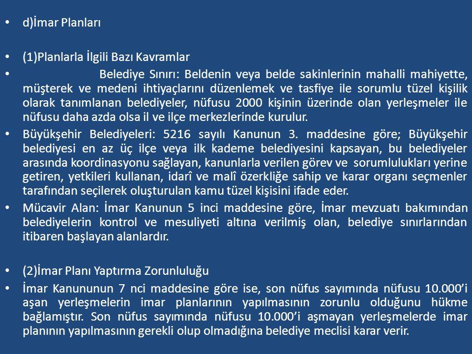 d)İmar Planları (1)Planlarla İlgili Bazı Kavramlar Belediye Sınırı: Beldenin veya belde sakinlerinin mahalli mahiyette, müşterek ve medeni ihtiyaçları