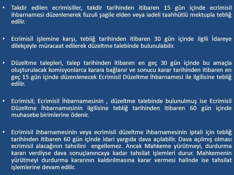 Takdir edilen ecrimisiller, takdir tarihinden itibaren 15 gün içinde ecrimisil ihbarnamesi düzenlenerek fuzuli şagile elden veya iadeli taahhütlü mekt