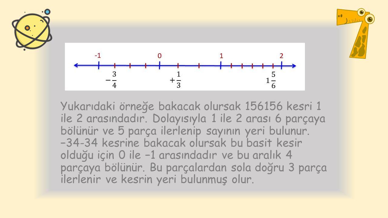 Yukarıdaki örneğe bakacak olursak 156156 kesri 1 ile 2 arasındadır. Dolayısıyla 1 ile 2 arası 6 parçaya bölünür ve 5 parça ilerlenip sayının yeri bulu