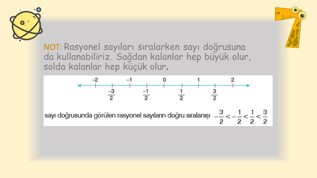 NOT: Rasyonel sayıları sıralarken sayı doğrusuna da kullanabiliriz. Sağdan kalanlar hep büyük olur, solda kalanlar hep küçük olur.