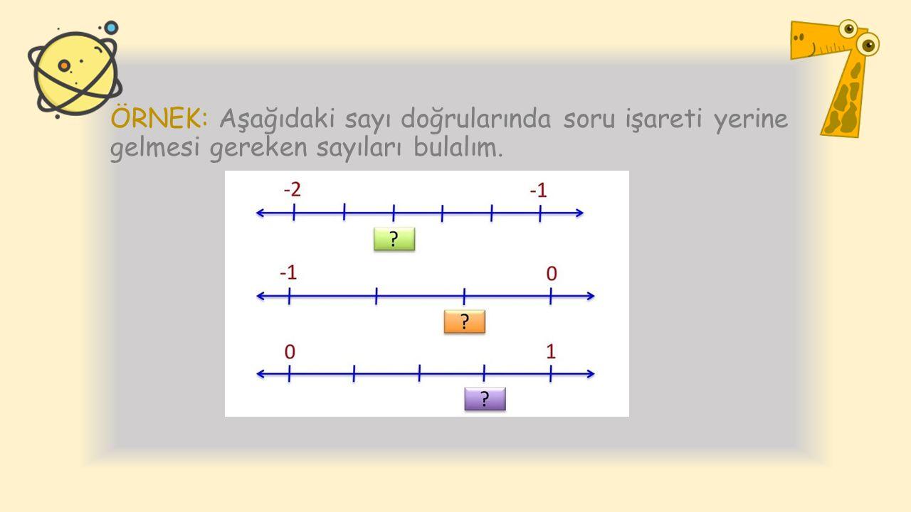 ÖRNEK: Aşağıdaki sayı doğrularında soru işareti yerine gelmesi gereken sayıları bulalım.