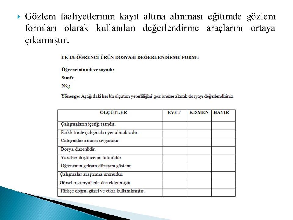  Gözlem faaliyetlerinin kayıt altına alınması eğitimde gözlem formları olarak kullanılan değerlendirme araçlarını ortaya çıkarmıştır.