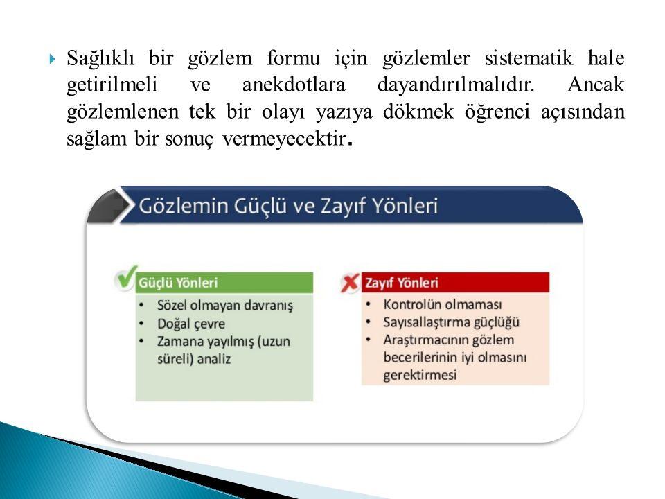  Kontrol listeleri genellikle daha küçük parçalara ayrılabilen davranışları belirlemek amacıyla kullanılır.