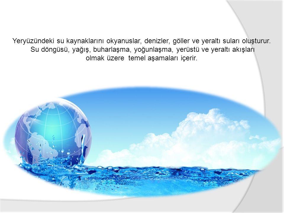 Yeryüzündeki su kaynaklarını okyanuslar, denizler, göller ve yeraltı suları oluşturur. Su döngüsü, yağış, buharlaşma, yoğunlaşma, yerüstü ve yeraltı a