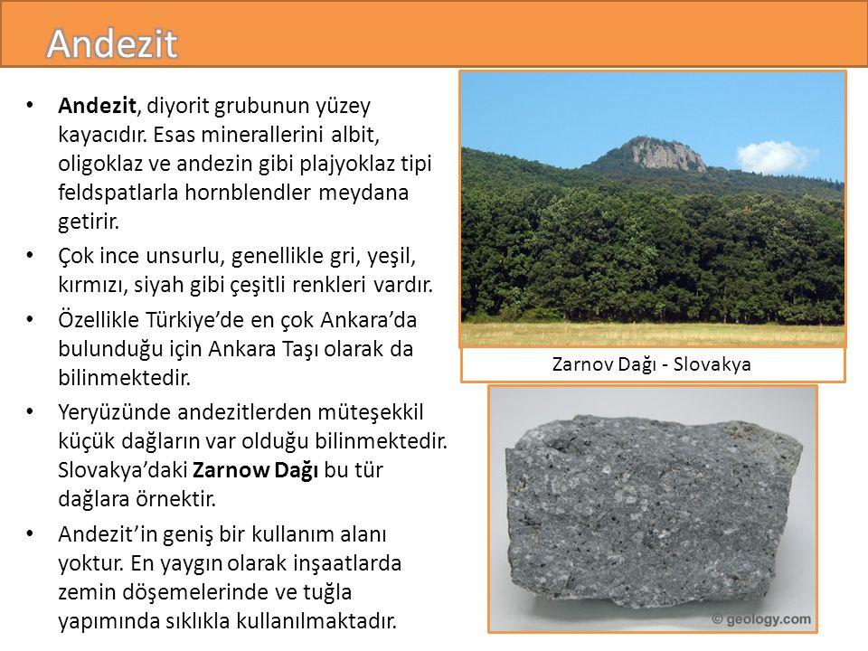 Andezit, diyorit grubunun yüzey kayacıdır.