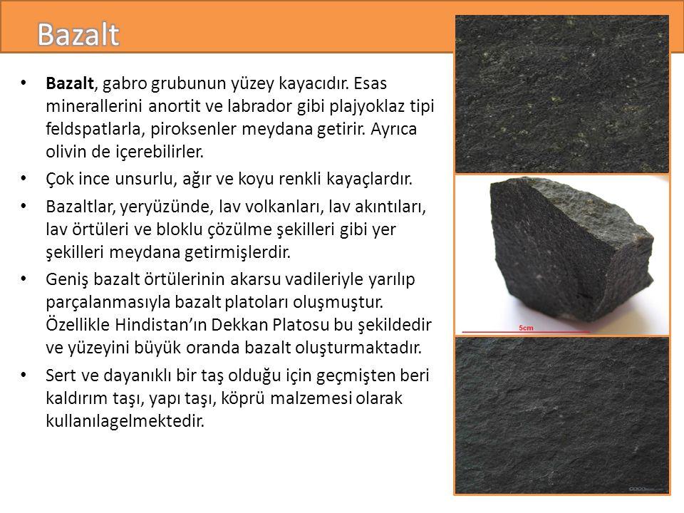 Bazalt, gabro grubunun yüzey kayacıdır.