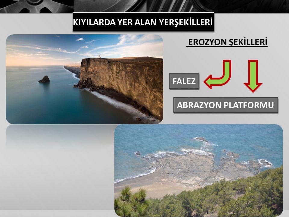 KIYILARDA YER ALAN YERŞEKİLLERİ FALEZ ABRAZYON PLATFORMU EROZYON ŞEKİLLERİ
