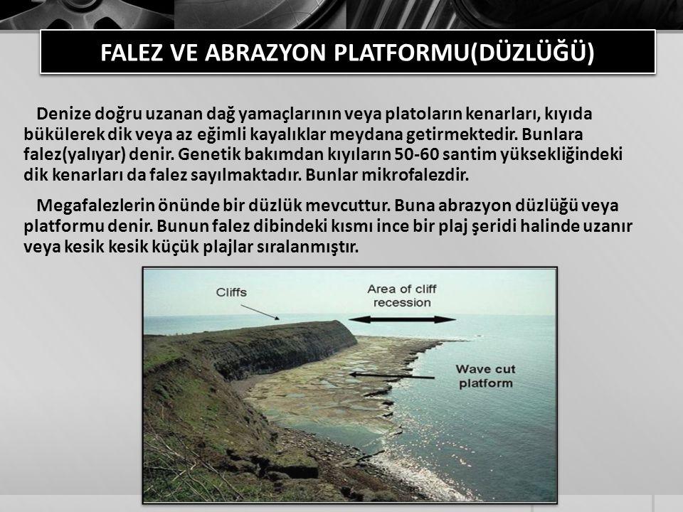 FALEZ VE ABRAZYON PLATFORMU(DÜZLÜĞÜ) Denize doğru uzanan dağ yamaçlarının veya platoların kenarları, kıyıda bükülerek dik veya az eğimli kayalıklar me