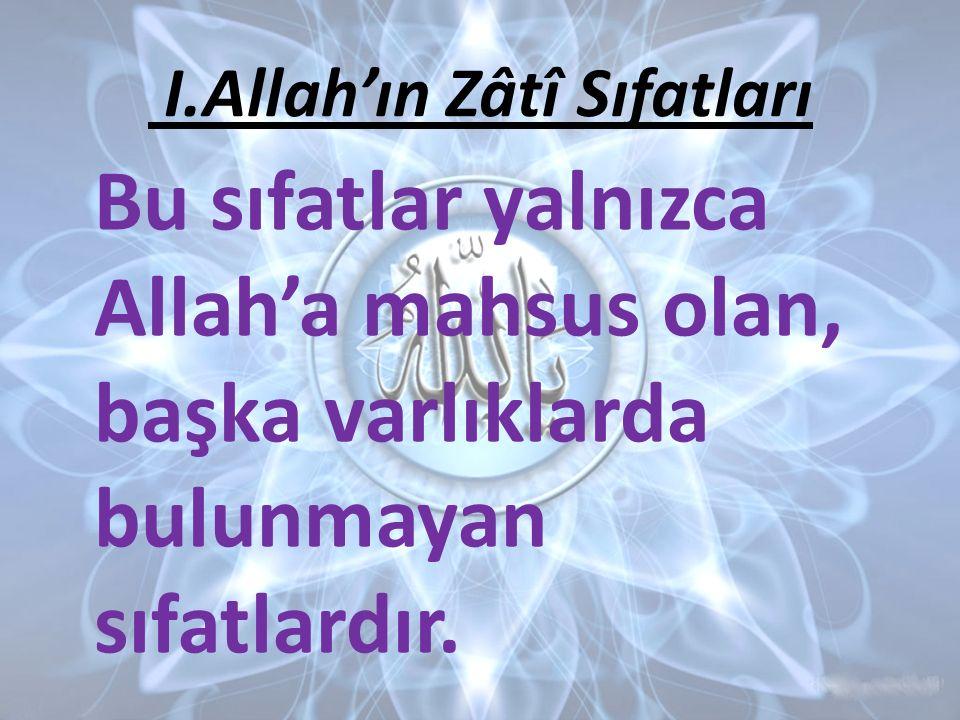 Bu sıfatlar yalnızca Allah'a mahsus olan, başka varlıklarda bulunmayan sıfatlardır. I.Allah'ın Zâtî Sıfatları