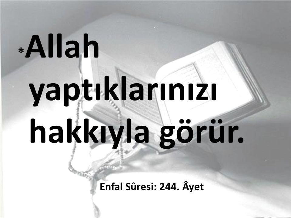 * Allah yaptıklarınızı hakkıyla görür. Enfal Sûresi: 244. Âyet