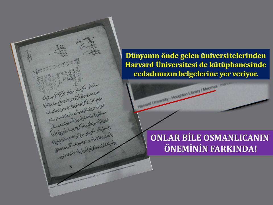 Dünyanın önde gelen üniversitelerinden Harvard Üniversitesi de kütüphanesinde ecdadımızın belgelerine yer veriyor. ONLAR BİLE OSMANLICANIN ÖNEMİNİN FA