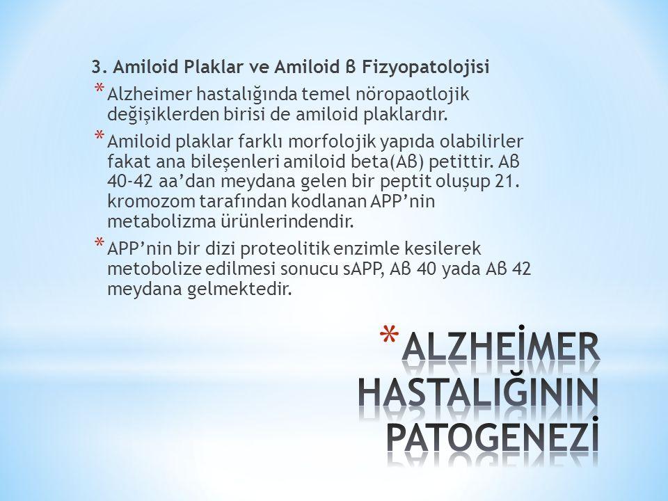 3. Amiloid Plaklar ve Amiloid β Fizyopatolojisi * Alzheimer hastalığında temel nöropaotlojik değişiklerden birisi de amiloid plaklardır. * Amiloid pla