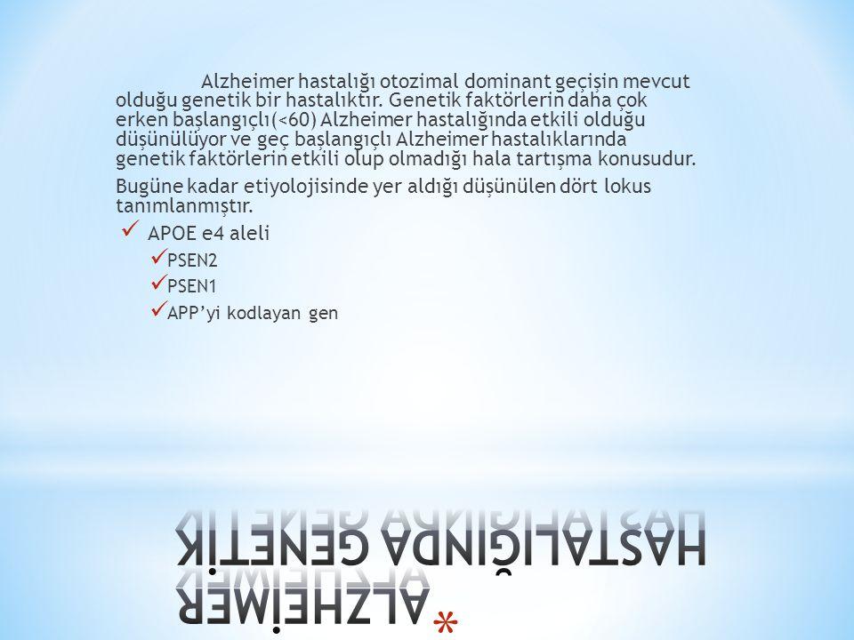 Alzheimer hastalığı otozimal dominant geçişin mevcut olduğu genetik bir hastalıktır.