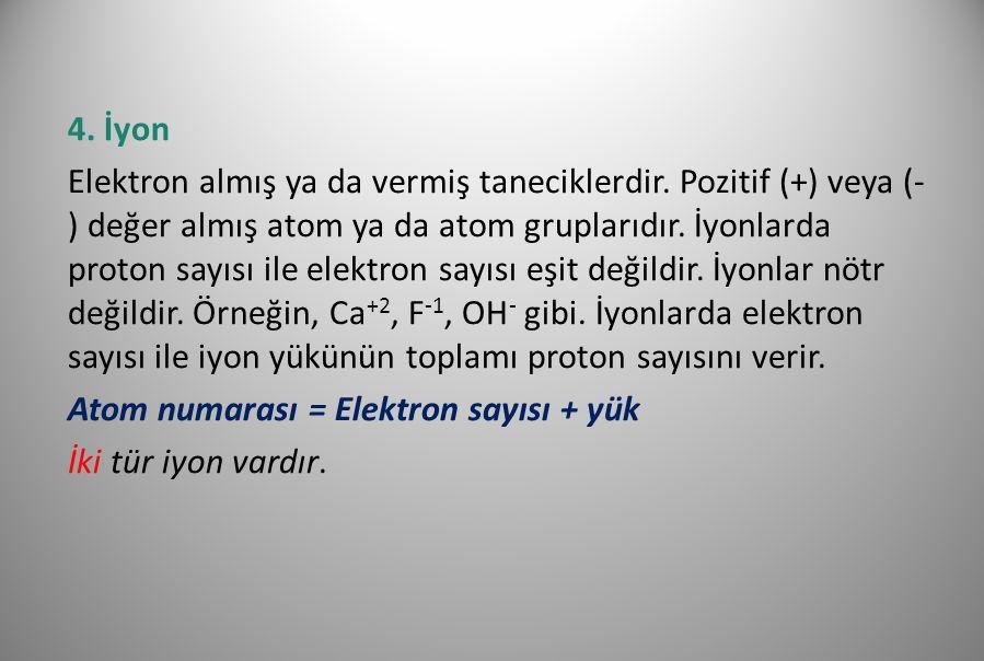 a.Katyon Elektron vererek pozitif (+) yükle yüklenmiş atom ya da atom gruplarıdır.