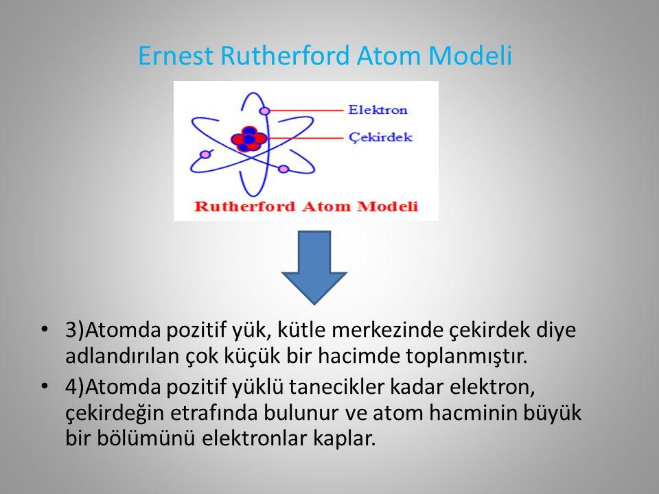 Ernest Rutherford Atom Modeli 3)Atomda pozitif yük, kütle merkezinde çekirdek diye adlandırılan çok küçük bir hacimde toplanmıştır.