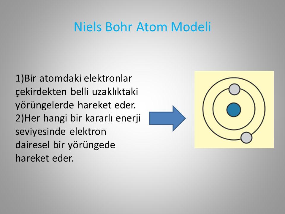 Niels Bohr Atom Modeli 1)Bir atomdaki elektronlar çekirdekten belli uzaklıktaki yörüngelerde hareket eder.