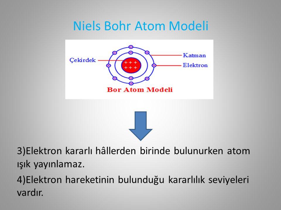 Niels Bohr Atom Modeli 3)Elektron kararlı hâllerden birinde bulunurken atom ışık yayınlamaz.