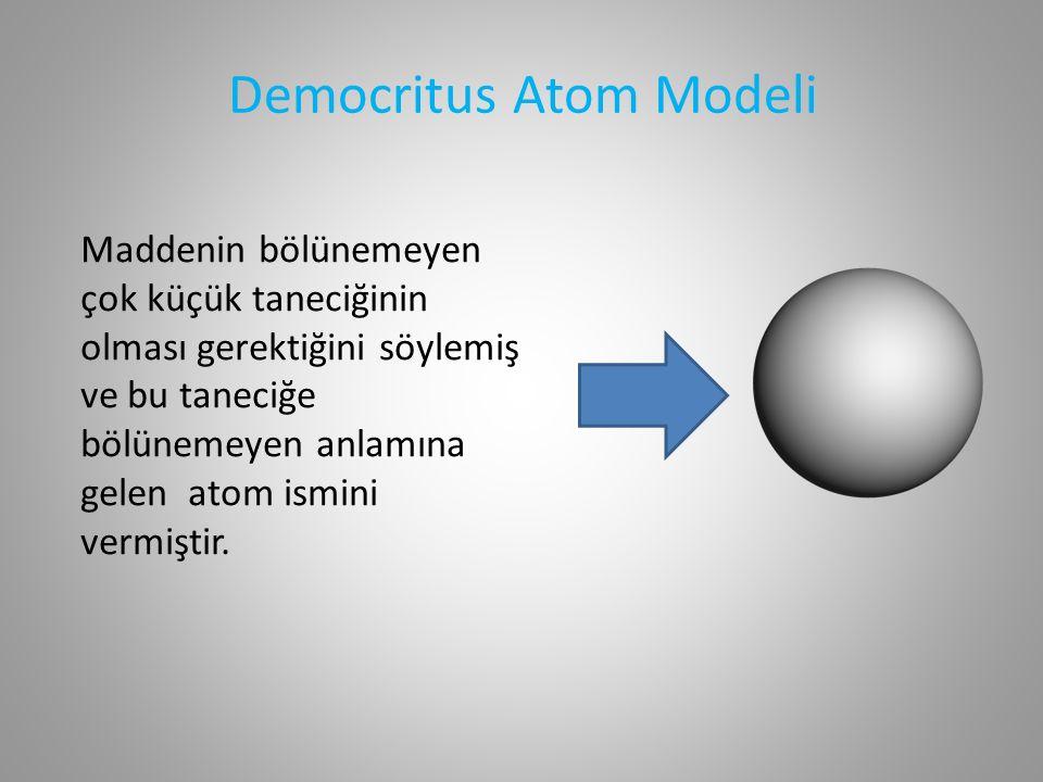 Democritus Atom Modeli Maddenin bölünemeyen çok küçük taneciğinin olması gerektiğini söylemiş ve bu taneciğe bölünemeyen anlamına gelen atom ismini vermiştir.
