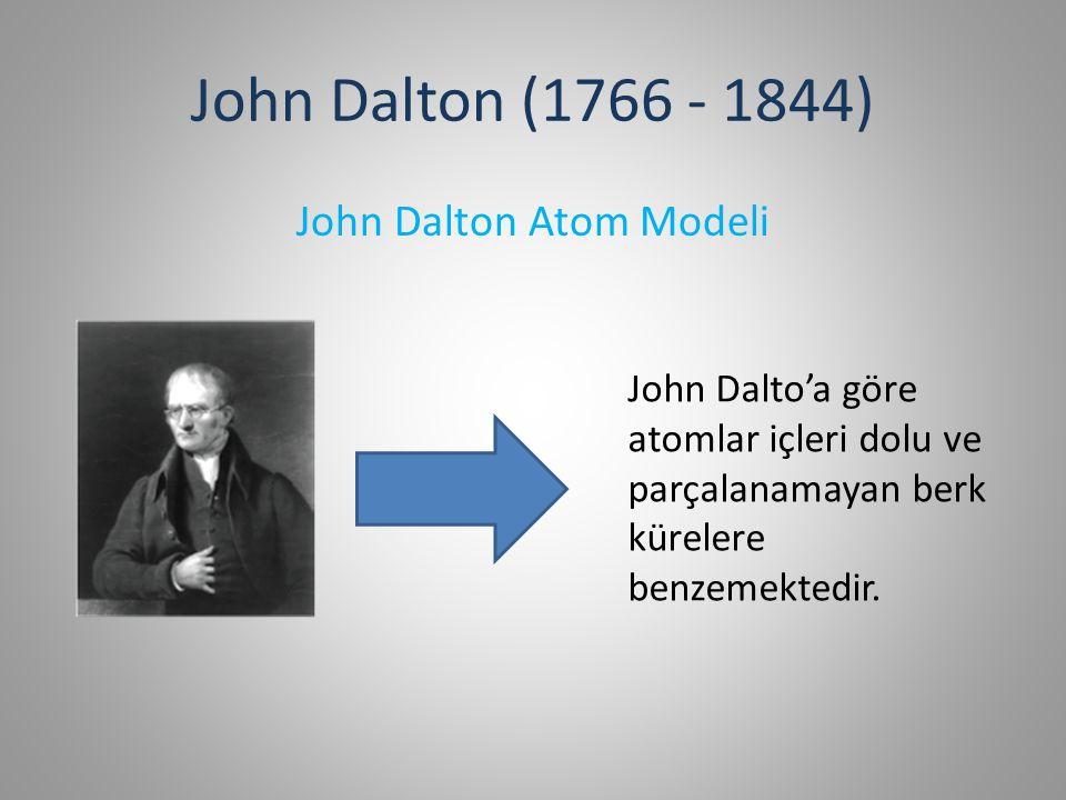 John Dalton Atom Modeli 1)Tüm maddeler atomlardan yapılmıştır.