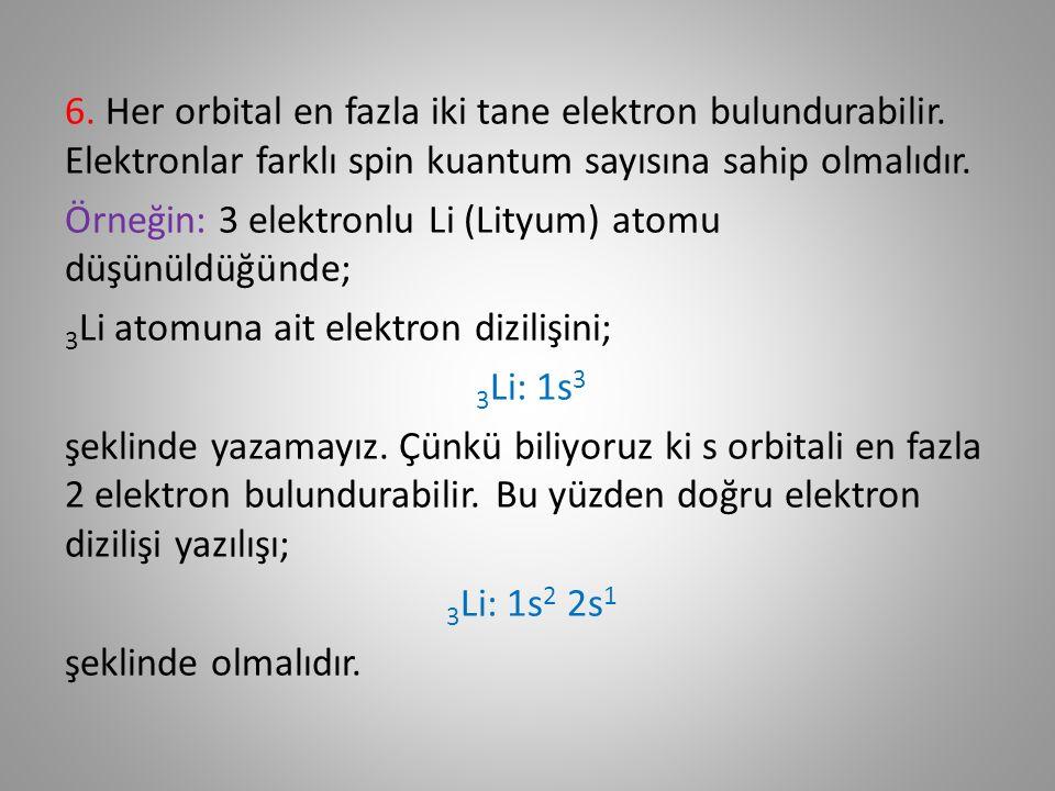6. Her orbital en fazla iki tane elektron bulundurabilir.