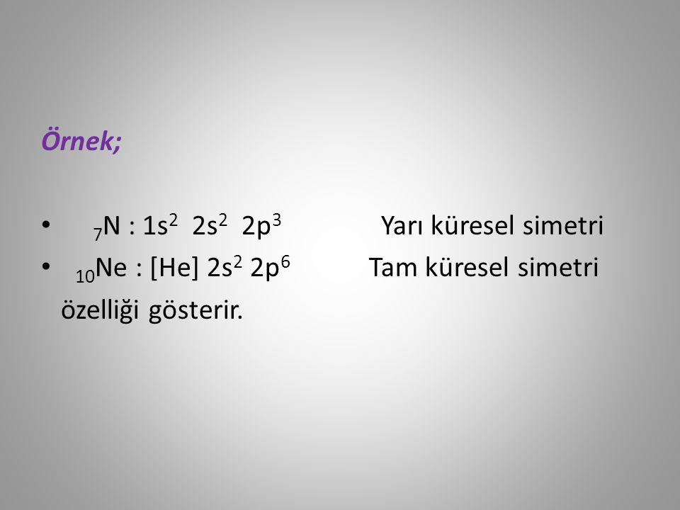 Örnek; 7 N : 1s 2 2s 2 2p 3 Yarı küresel simetri 10 Ne : [He] 2s 2 2p 6 Tam küresel simetri özelliği gösterir.